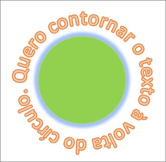 texto curvado em redor de uma forma de círculo