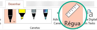 O stencil Régua encontra-se no separador Desenhar do friso no PowerPoint 2016.