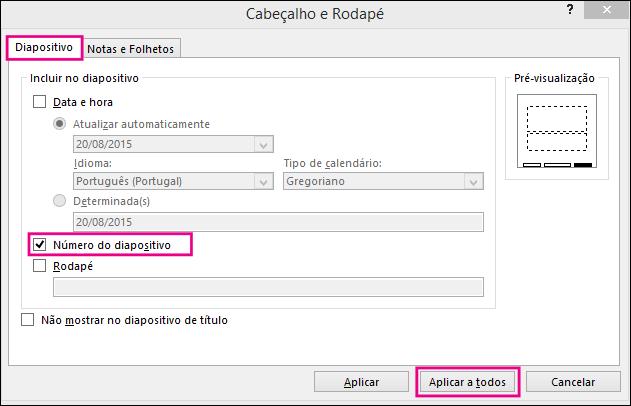 Mostrar a caixa de diálogo Cabeçalho e Rodapé no PowerPoint