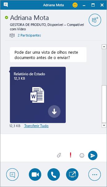 Captura de ecrã da janela de uma MI com um anexo recebido.