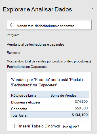 Ideias no Excel a responder a uma pergunta sobre quantos Cadeados ou Capacetes foram vendidos.