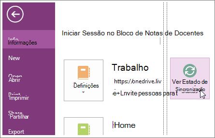 Veja o estado de sincronização dos blocos de notas do OneNote.
