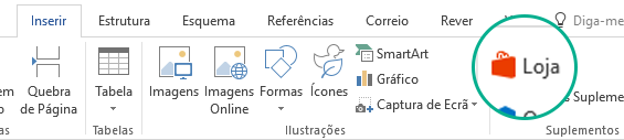 Utilize o botão Loja no separador Inserir do friso do Office para instalar os suplementos do Office