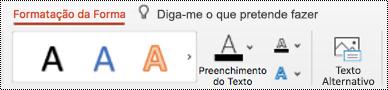 Botão texto alternativo no Ribbon para uma forma no PowerPoint para Mac.