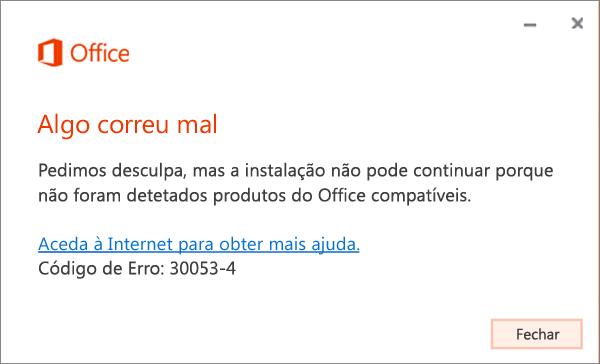 """Mensagem de erro 30053: """"Ocorreu um problema"""""""