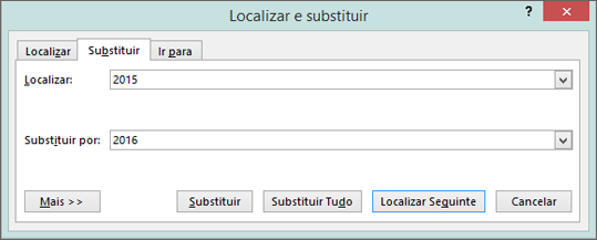 Separador Substituir na caixa de diálogo Localizar e Substituir