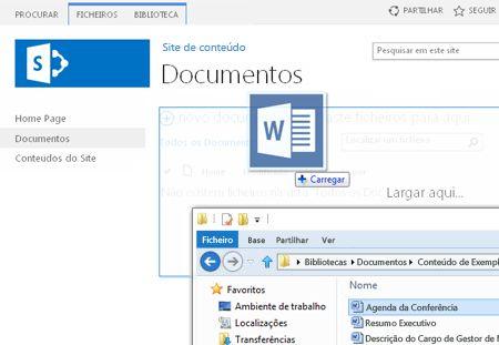 Arrastar ficheiros para a biblioteca