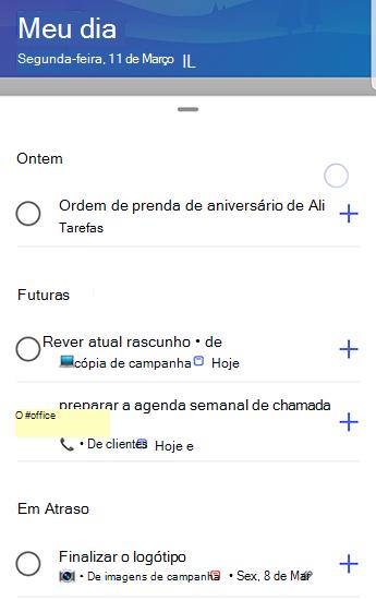 Captura de tela do to-do no Android com sugestões completamente abertas e agrupadas por ontem, em dia e em atraso.