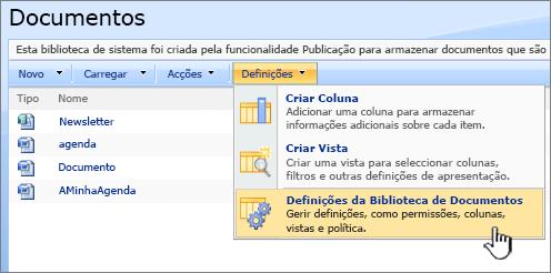 Selecionar a opção de definições da biblioteca de documentos a partir do menu Definições
