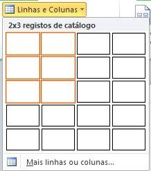 Linhas e colunas do esquema da página de catálogo