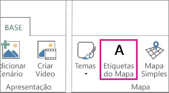 Botão Etiquetas de Mapa no separador Base do Power Map