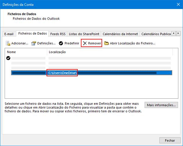 Caixa de diálogo ficheiros de dados do Outlook
