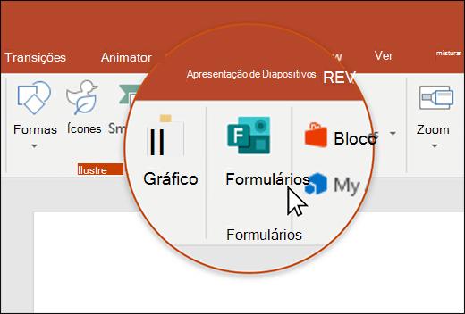 Ícone de formulários no PowerPoint