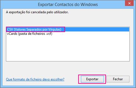 Selecione CSV e, em seguida, selecione Exportar.