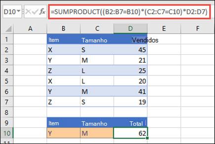 Exemplo de utilização da função SOMAPRODUTO para devolver o total de vendas quando fornecido com o nome, tamanho e valores de vendas individuais de cada produto.