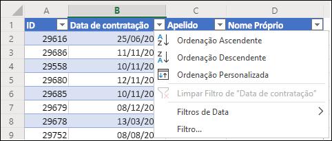 Utilize o Filtro de Tabela do Excel para ordenar por ordem Ascendente ou Descendente