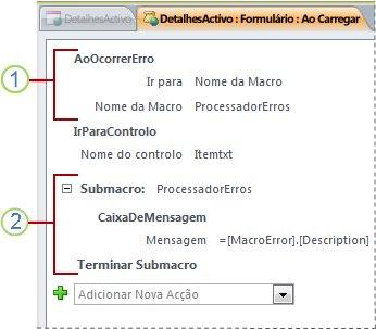 Uma macro que contém uma submacro de processamento de erros.