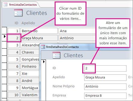 Clicar numa ID num formulário de múltiplos itens para abrir um formulário de item único.