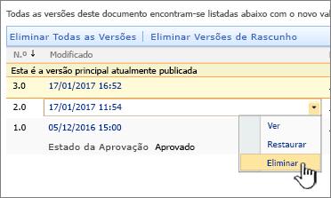 Lista pendente do controlo de versões de um ficheiro com a opção Eliminar realçado