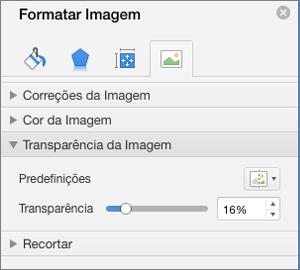 Ajustar a transparência de cores no painel Formatar imagem
