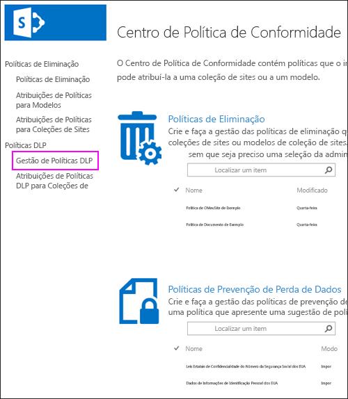Atribuições de políticas para a opção de coleções de sites