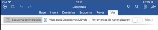 A mostrar o separador Ver no documento