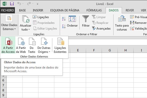 Importar dados a partir do Access com friso pequeno