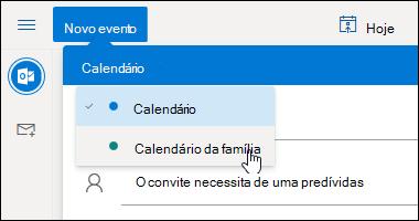 Uma captura de tela do menu pendente de seleção do calendário