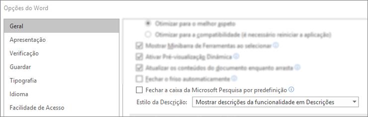 """A caixa de diálogo 'Opções de > ficheiros' que mostra o """"Colapso"""" da caixa de pesquisa do Microsoft por padrão."""