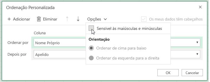 Caixa de diálogo de ordenação personalizada quando a ordenação por maiúsculas e minúsculas estiver selecionada