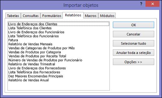 Caixa de diálogo Importar Objetos numa base de dados do Access