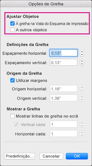 Nas Opções da Grelha, defina as opções de ajustar e as medições de grelha.