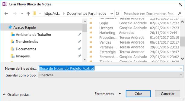 Caixa de diálogo Criar Novo Bloco de Notas no OneNote para Windows 2016