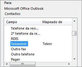 Tlm é mapeado para o campo Telemóvel do Outlook