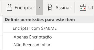 Botão de encriptar e lista pendente de opções associadas