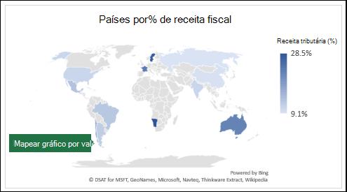 Excel mapa gráfico mostrando valores com países por receita fiscal %