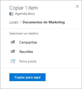 Captura de ecrã da seleção de uma localização ao copiar um ficheiro para o SharePoint