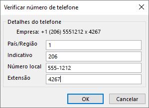 No Outlook, no cartão de contacto, em números de telefone, escolha uma opção e, atualize a caixa de diálogo Verificar o número de telefone, conforme necessário.