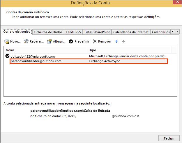 Opção Contas de E-mail da opção Definições da Conta do Outlook