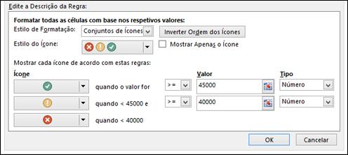 Caixa de diálogo de opções do Conjunto de Ícones da Formatação Condicional