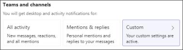 Personalizar notificações de canais de equipas