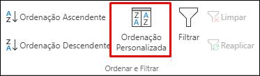 Opções de Ordenação Personalizada do Excel a partir do separador Dados