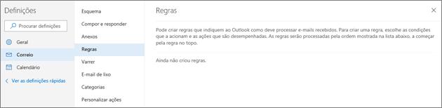 Captura de ecrã mostra a página de Regras no Correio nas Definições do Outlook.com.