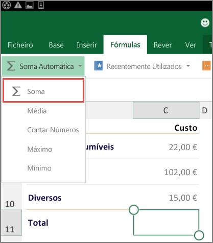Menu de acesso ao friso do Excel para Android