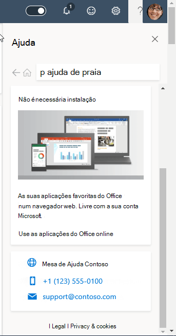 Screenshot mostrando uma informação de suporte de organizações
