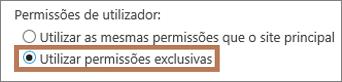 Definir permissões exclusivas num subsite