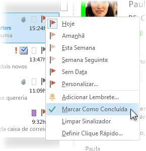 Comando Marcar Como Concluída no menu de contexto da lista de mensagens