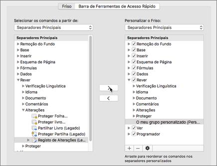 Clique em Alterações de Faixa (Legado) e, em seguida, clique em > para mover a opção sob o separador 'Rever'