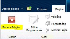 Botão Parar Edição no separador Página