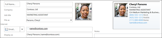 Pode adicionar ou alterar uma imagem de um contacto.